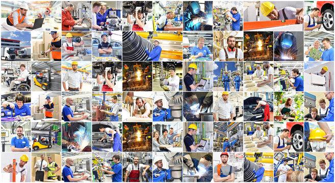 Collage mit Arbeitskräften in Industrie und Handwerk - Menschen am Arbeitsplatz - Berufsausbildung // Collage with workers in industry and trade - People at work - Vocational training