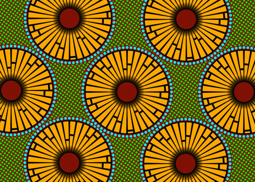 African Wax Print fabric, Ethnic handmade ornament for your design, Afro Ethnic flowers and tribal motifs geometric elements. Vector texture, Africa striped seamless textile Ankara fashion style
