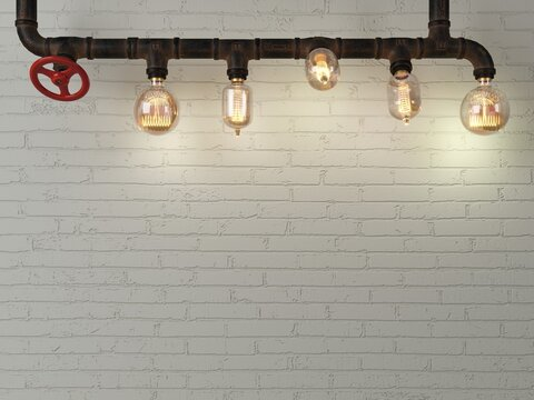 Background brick wall loft steampunk lamp from pipes