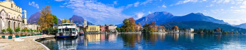Riva del Garda - beautiful small village in Garda lake. Trentino, Italy. Popular tourist resort