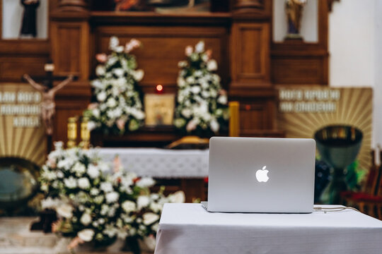 01.10.2020 Kyiv, Ukraine:liturgy during the epidemic: a laptop with a webcam is sent to the altar where the liturgy will be sent for live broadcast