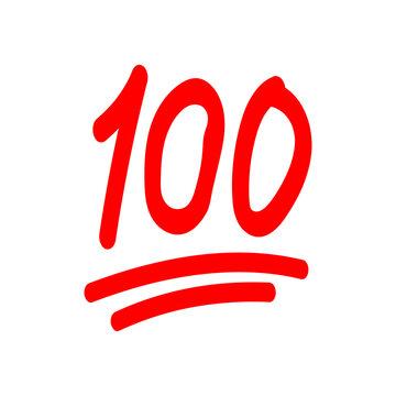 100 hundred emoticon vector icon. 100 emoji score sticker eps 10