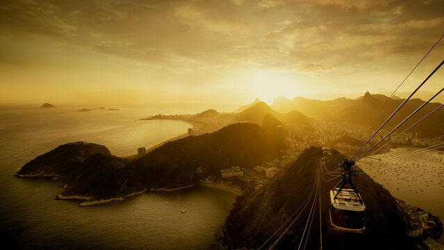 Panorama of Rio de Janeiro from the Sugarloaf Mountain by Sunset, Brazil