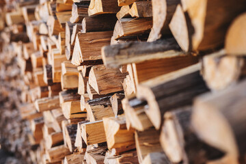 .Stacked firewood background