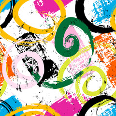seamless abstract background pattern, with circles/swirls, paint strokes and splashes
