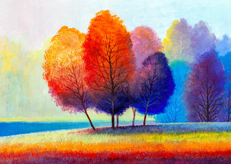 Autumn on the river. landscape . Painting: canvas, oil.