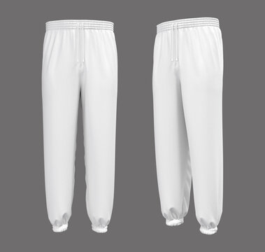 Blank joggers mockup, front and side views. Sweatpants. 3d rendering, 3d illustration.