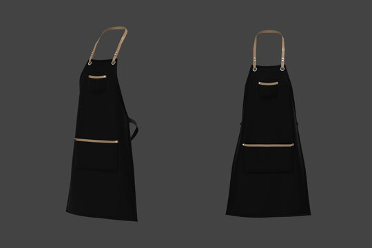 Black aprons mockup with leather straps, clean apron,  3d illustration, 3d rendering