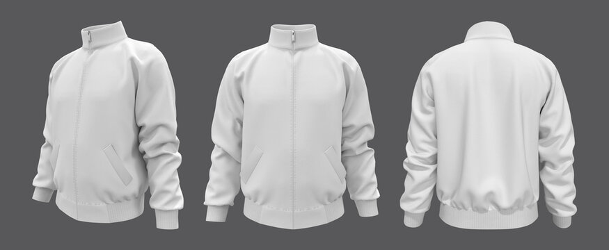 White tracksuit top mockup in front, side and back views,  sportswear, 3d illustration, 3d rendering