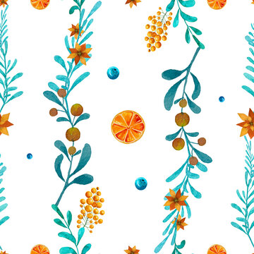 Blue leaves with berries seamless pattern background.