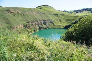Panorama of karst mountain lake Shadhurei