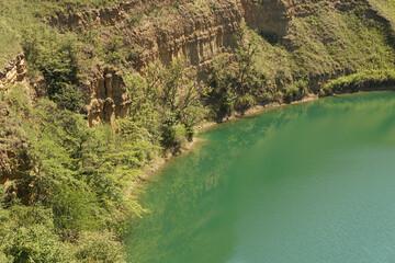 View of karst lake Shadhurei in North Caucasus