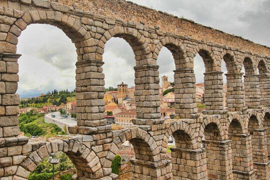 Roman aquaduct in Segovia, Spain