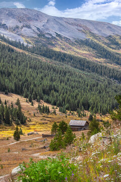 Colorado landscape and mountains with golden colors