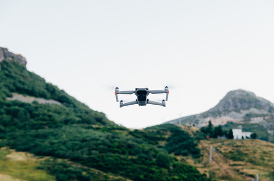 Flying Drone with camera in mountains