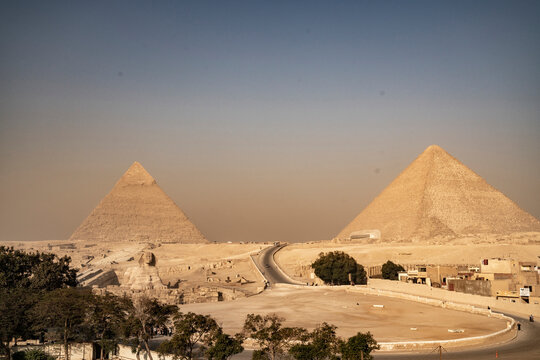 View of the Egyptian pyramids in Giza
