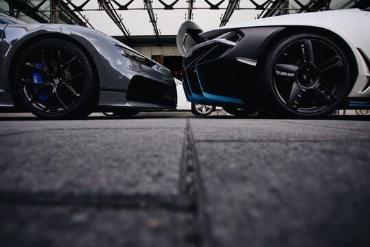 A Bugatti Chiron and Lamborghini Veneno parked outside of the Berkeley Hotel in London, UK on September 16, 2018