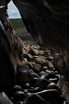 Cave Entrance, HDR, Circular Rocks