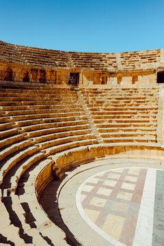 Ancient Roman theater in the city of Jerash, Jordan