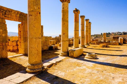 Ancient Roman columns in the city of Jerash, Jordan