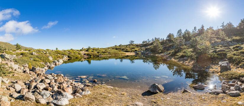 small lagoon of peñalara. Set of glacial lagoons of Peñalara, in the Sierra de Guadarrama of Madrid.