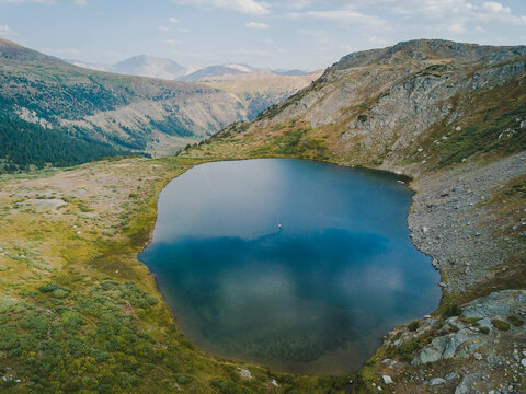Drone shot of lake on mountain