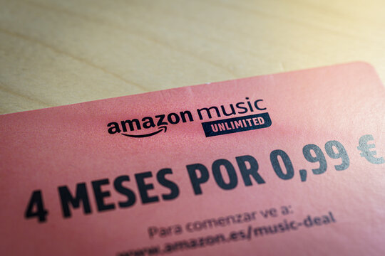 Barcelona, Spain - November 2020: card with amazon music unlimited 4 months deal in spanish language. Illustrative editorial