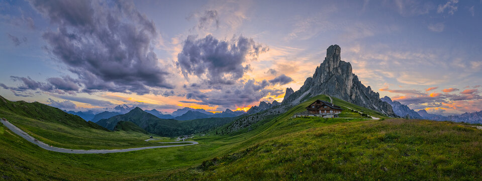 Mountain Panorama of the Dolomites as viewed from passo di Giau