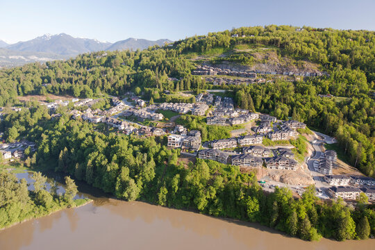 Aerial view of development on Chilliwack Mountain, B.C., Canada.