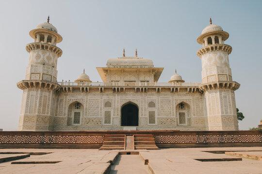 Itmad-ud-Daula, known as the baby Taj, Mughal style white marble mausoleum, Agra.