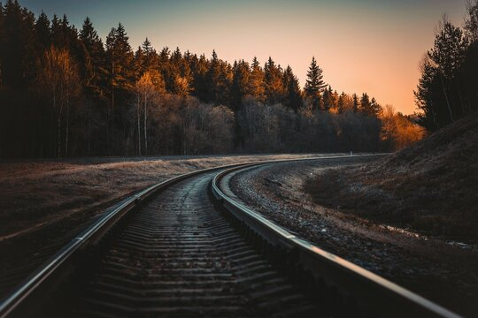 a beautiful railway track photographed on sunlight.