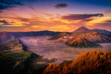 Mount Bromo volcano (Gunung Bromo) at sunrise with colorful sky background in Bromo Tengger Semeru National Park, East Java, Indonesia.