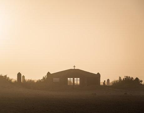 Silhouette of on Cofete beach in Fuerteventura, Canary Islands, Spain.