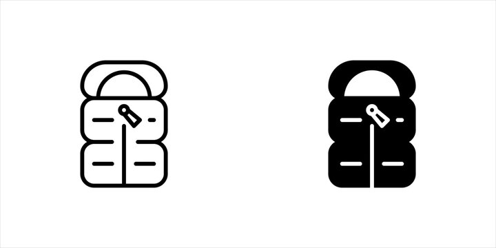 Sleeping bag icon vector, line and solid pictogram isolated on white background. Modern sleeping bag symbol illustration.