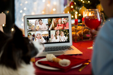 Mature man celebrating Christmas with his dog sitting at served holiday  table with laptop. People...