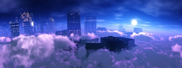 Cloud city, Heavenly landscape of clouds and skyscrapers, skyscrapers in clouds at sunset, 3D rendering