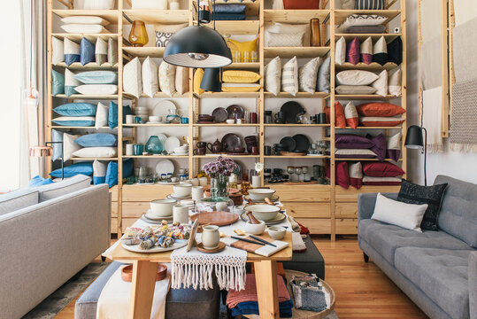 Interior of small boutique home decor store full of handmade goods