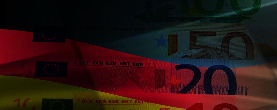 Euro Bargeld Banner mit Flagge Deutschland