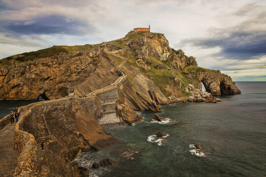 """San Juan de Gaztelugatxe in Bermeo (Pais Vasco, Spain). It's a very famous island thanks to the """"Game of thrones"""" series. On the island there is a hermitage."""