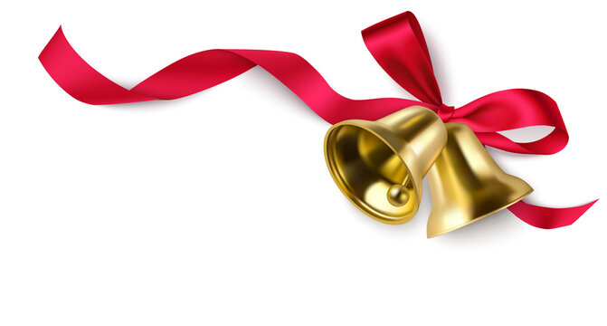 Decorative red bow with swirl ribbon and Christmas golden bells on the corner of page isolated on white. New year background. Vector illustration