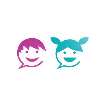 kids communication logo, head kids chat icon