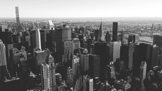 black and white view of Manhattan buildings in New York City, USA.