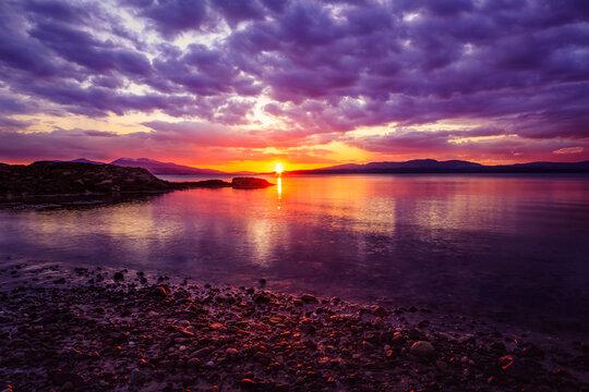 Colourful Argyll Sunset on Stony Beach