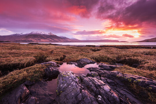 Loch Na Keal Sunset Reflecting Water