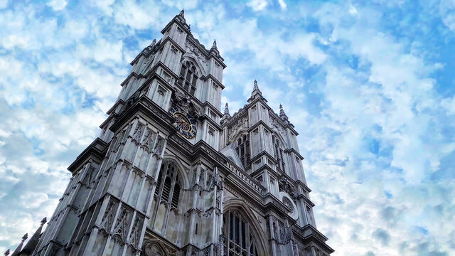 low angle view of Westminster Abbey in Westminster, London, England, UK