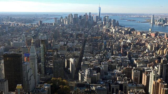 New York City, Manhattan downtown skyline skyscrapers.
