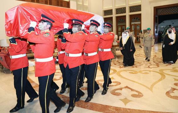 The body of Bahrain's Prime Minister arrives in Bahrain