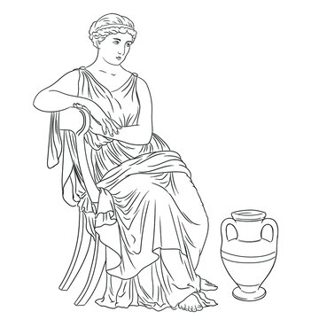 Ancient Greek Woman sits on a chair near a jug of wine. Figure isolated on white background.