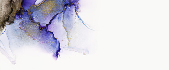 Art Abstract watercolor flow blot painting. Violet and Gold Color canvas marble texture background. Alcohol ink.