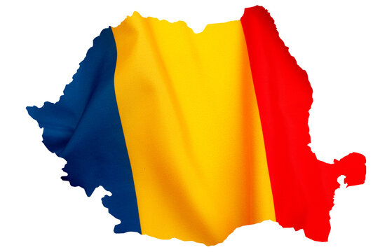 Romanian patriotism and national pride concept with silhouette of map of Romania in red, yellow and blue flag colours isolated on white background with clipping path cutout